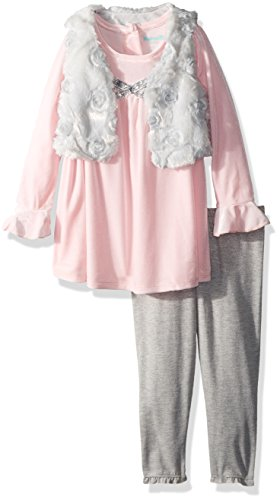 Nannette Baby Girls Fashion Top with Legging and Faux Fur Vest