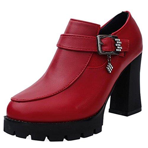 Binying Women's Buckle Diamond Round-Toe Platform Block Heel Zip Ankle Boots Red URjVevINR