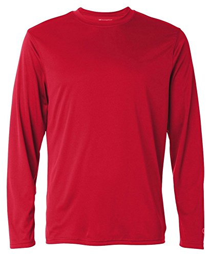 Champion Adult Double Dry Long-Sleeve Interlock T-Shirt, Scarlet, Medium