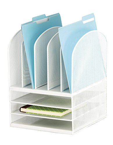 Safco Products Onyx Mesh 5 Sorter/3 Tray Desktop Organizer 3266WH, White Powder Coat Finish, Durable Steel Mesh Construction