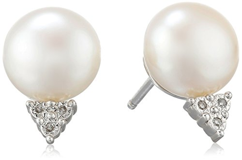 Sterling Silver 9.5-10mm Button Chinese Freshwater Cultured Pearl and Triangle Diamond Accent Stud Earrings