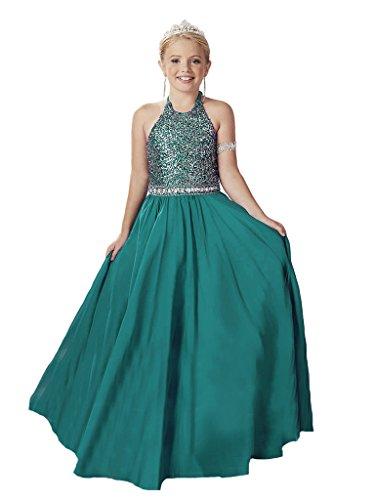 GreenBloom Little Girls' Halter Crystals A-Line Matte Satin Paillette Sequins Lace Up Slim-Line Pageant Ball Gown Dress Teal 2 ()
