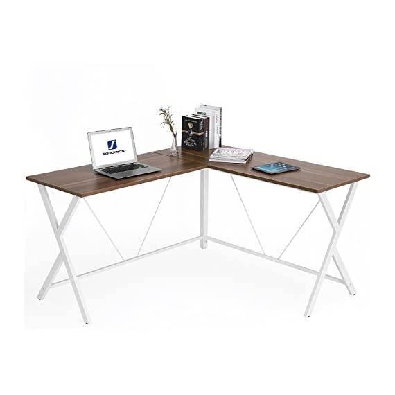 SONGMICS L Shaped Computer Desk, Corner Office Desk Gaming Workstation,  Enough Space For