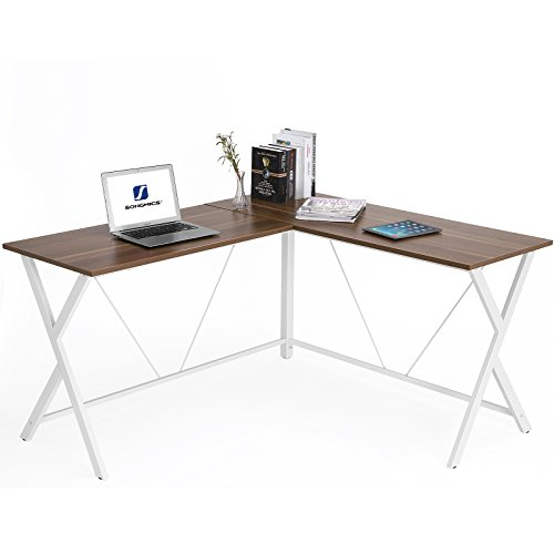 415QHq3OWUL - SONGMICS L-Shaped Computer Desk Corner Office Desk Gaming Workstation, Enough Space for 4 or more Computers,Modern Simple Style Easy Assembly, 57.10''x 51.18'' x 29.53'', Walnut ULWD70WH