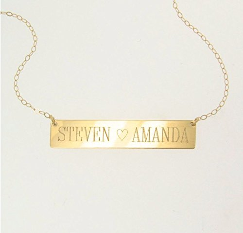 Amazon will engrave 14k gold nameplate necklace bar necklace will engrave 14k gold nameplate necklace bar necklace in yellow rose or aloadofball Images