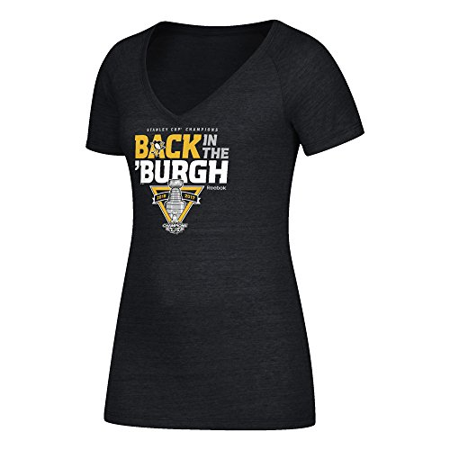 Reebok NHL Pittsburgh Penguins Adult Women Stanley Cup Celebration Too Tri-Blend V-Neck Tee, Small, Black Heather ()
