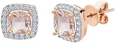Rose Gold Plated Sterling Silver Created Morganite Glass Earring