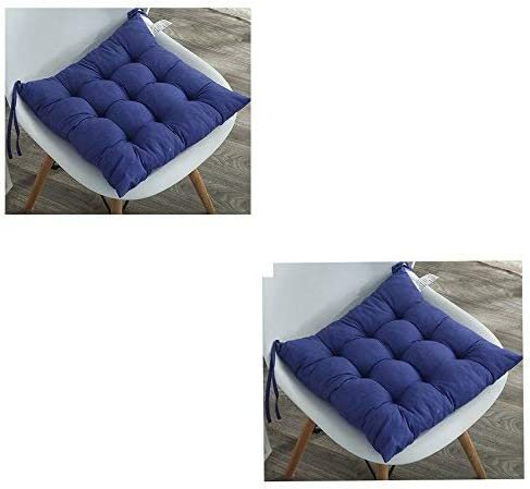 Cuscini imbottiti per sedia con lacci, design trapuntato, per sala da pranzo, giardino, cucina, ufficio, in confezione da 2 (38 x 38 cm) Blu