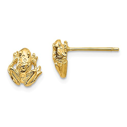 Mia Diamonds 14K Yellow Gold Mini Frog Post Earrings (9mm x 8mm)