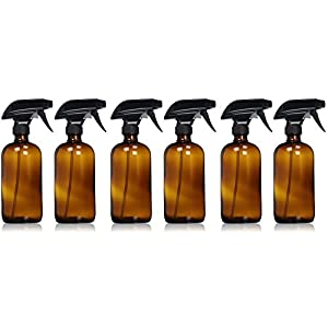 Sally's Organics Empty Amber Glass Spray Bottle Large 16 oz Refillable Container for Essential Oils, Cleaning Products, or Aromatherapy Black Trigger Sprayer w/Mist and Stream Settings 6 Pack