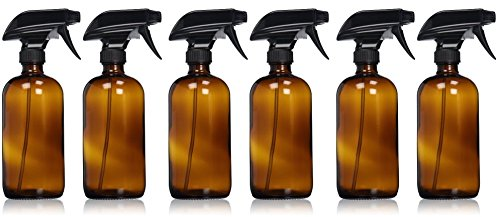 Empty Amber Glass Spray Bottle - Large 16 oz Refillable Container for Essential Oils, Cleaning Products, or Aromatherapy - Black Trigger Sprayer w/ Mist and Stream Settings - 6 Pack