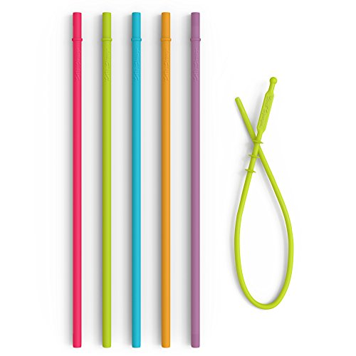 Extra Long Reusable Drinking Straws + Cleaning Tool - Food Grade Silicone Straws for 30 oz Tumblers Yeti rTic Starbucks - Non Plastic, BPA Free Slim Straws with Stopper - Flexible Safe Straws for (Chew Straws)