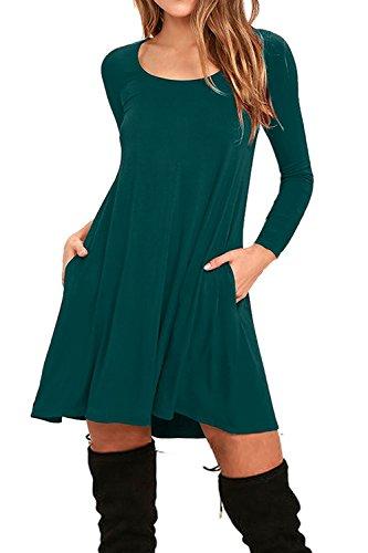 Auselily Womens Pockets Casual Swing T Shirt Dresses  M  Long Sleeve Dark Green