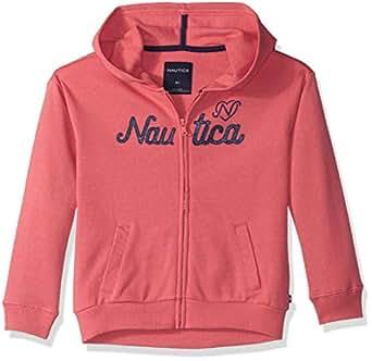 Nautica Girls' Toddler Long Sleeve Hoody, Rose Logos, 3T