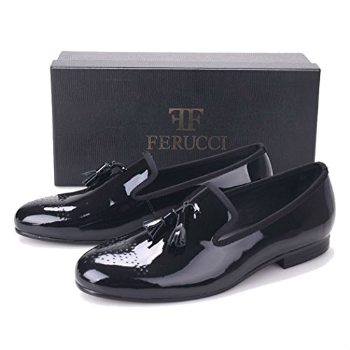 Handmade FERUCCI Men Plain Black Patent Leather with Black Tassel Slippers loafers oZXvEkTH