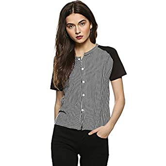 0aef348aff0 Campus Sutra Women Striped Button Open Top: Amazon.in: Clothing ...