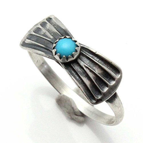Turquoise Concho Ring - Size 9 - American Native Turquoise Concho Silver