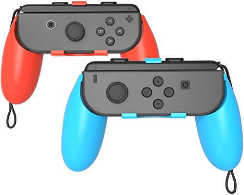 GH Nintendo Switch Joy Con Grip , Switch Grip for Joy Con Handle , 2 Pack (Red+Blue) (Arm And Switch)