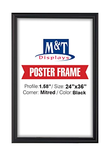 Fancy Frame, 24'' X 36'' Poster Size, 1.58'' Black Color Profile, Mitred Corner by DisplaysMarket