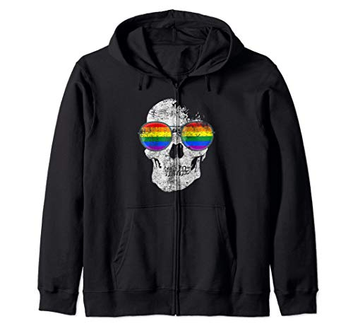 (Gay skull crossbones pride lgbt equality support queer month Zip Hoodie)