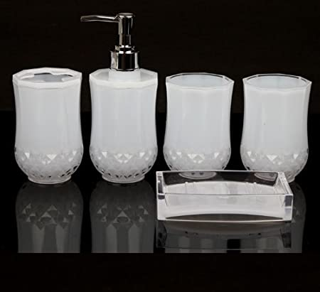 5PC Set Acrylic Bathroom Accessories Bathroom Set Glamarous White