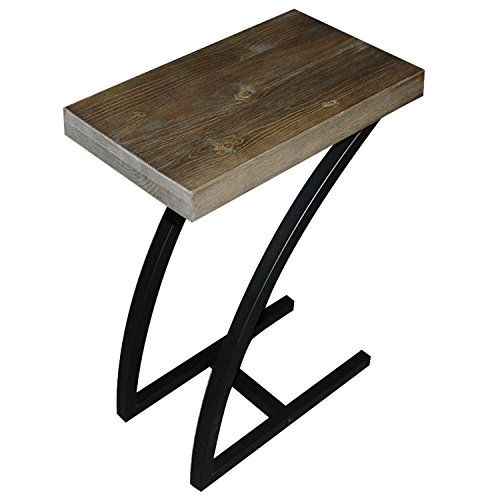 The Lynn C Table/End Table/Laptop Stand, Solid Wood Top w/Black Welded Steel