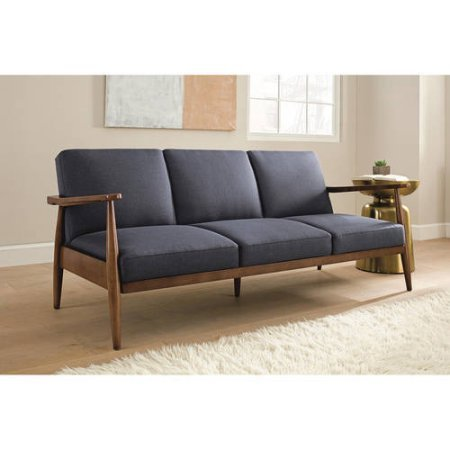 Vintage Looking Futon Sofa, Durable Wood Frame And Arms, Upholstery Couch,  Convertible Futon