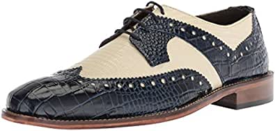 Stacy Adams Men's Gusto Wingtip Oxford, Blue/Multi, 7 M US