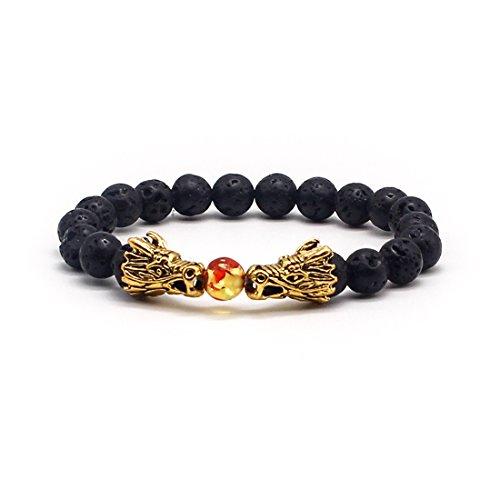 Men 8Mm Antique Gold Dragon Head Black Lava Stone Beads Stretch Link Bracelet