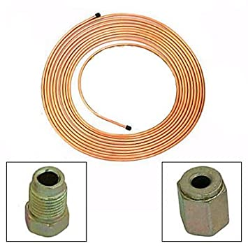 """Copper Brake Pipe Hose 25ft 3//16/"""" With Fittings Male Female Nuts Unions x 20"""
