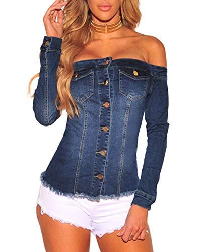 Col Marin Automne Denim et Fashion Tee Hauts Tops T Manches avec Shirts Printemps Boutons Bleu Femmes Bateau Blouse Slim Longues Chemisiers 5qtO5Rwx