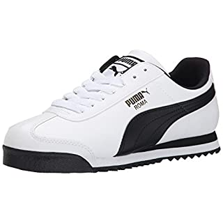 PUMA Men's Roma Basic Fashion Sneaker, White/Black Leather - 7.5 D(M) US