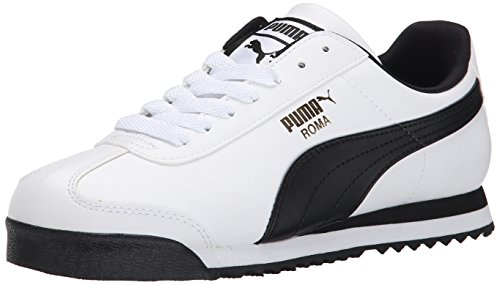 (PUMA Men's Roma Basic Fashion Sneaker, White/Black Leather - 7 D(M) US)