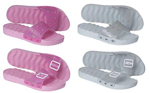 VIVA Shoes - Sandalias de vestir de Material Sintético para mujer pink mit Glitzersteinen