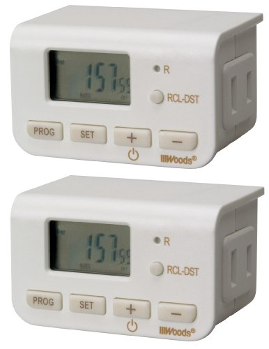 Woods 50007WD Indoor 24-Hour Digital Plug-In Timer, 2 Pack, 1 Polarized Outlet (Timer Digital Lamp)