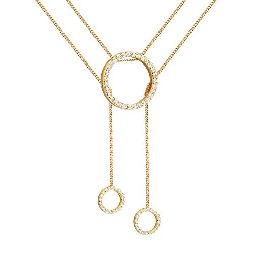 4707eb130 Gold Circle Necklace, Layered Trinity Lariat Jewelry, Real Gold Plating,  Birthday Prom Evening