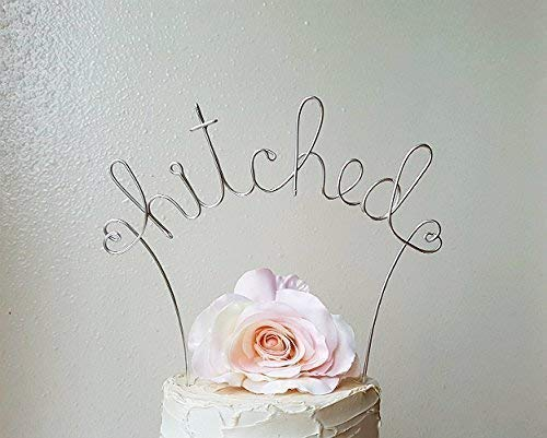 HITCHED Cake Topper in SILVER Finish Special Events Decoration ()