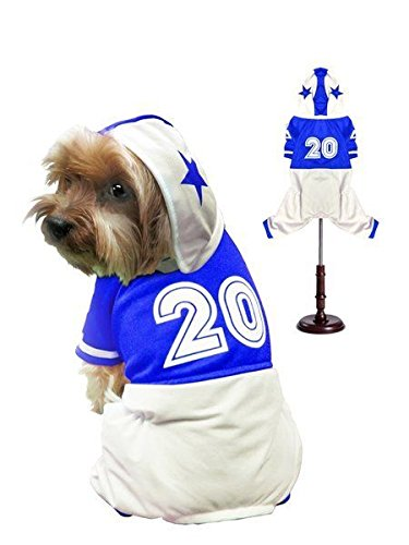 Dog Costume Football Player Athlete Jock Jersey Choose Blue or Red (Size 4 Blue)]()