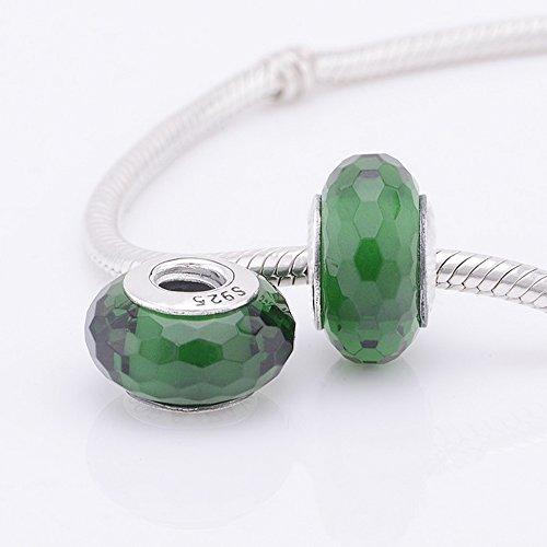 Authentiques Breloques Perles de verre de vert foncé Murano rouge pour les femmes Ajustement Pandora Bracelet Argent 925