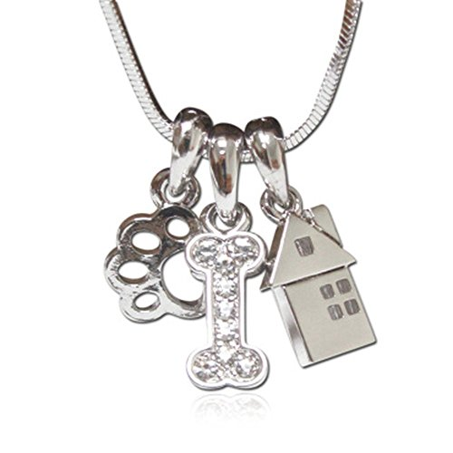 (Lola Bella Gifts Crystal Detail Dog Lover Paw Bone House Charm Pendant Necklace with Gift Box)