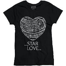 Brisco Brands Star Love War Cute Death Star Funny Shirt Cool Gift Idea Jedi Ladies T-Shirt