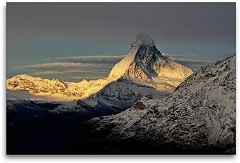 Calvendo Premium Tela In Tessuto 120 Cm X 80 Cm Orizzontale, Atmosfera Invernale, Immagine Su Telaio, Immagine Su Vera Tela, Stampa Artistica: Matterhorn Natur Natura