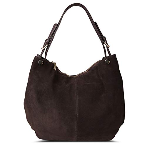 Suede Leather Hobo - Nico Louise Women's Genuine Leather Suede Purse Shoulder Bag Casual Hobo Bag Deep Coffee