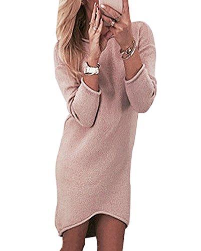 Femme Sweater Pull Col pink Rond Manche Longue Mini Robe Robe YYrUdwq