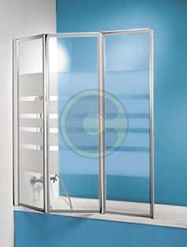 Mampara de 3 puertas de cristal serigrafiado: Amazon.es: Hogar