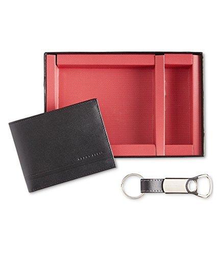 Perry Ellis Portfolio Mens Leather Key Fob Bifold Wallet Black O/S
