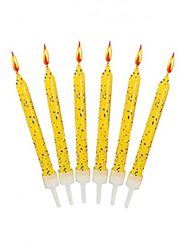 12 Yellow Glitter Cake Candles with Holders Creative