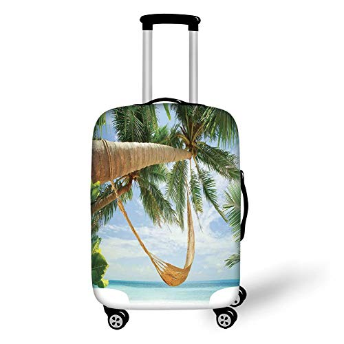 (Travel Luggage Cover Suitcase Protector,Tropical,View of Nice Hammock with Palms by the Ocean Sandy Shore Exotic Artsy Print Decorative,Green Cream Blue£¬for Travel)