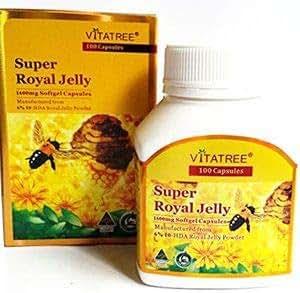 VitaTree Super Royal Jelly 1600mg 6% 10-HDA 100 Softgel Capsules Australian Made