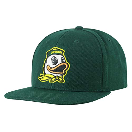 Top of the World NCAA Men's Flat Brim Snap Back Team Icon Hat, Oregon Ducks Green, Adjustable